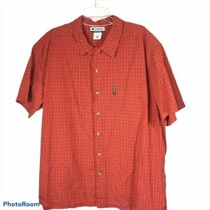 Columbia Pumpkin Plaid ButtonUp Short Sleeve Shirt